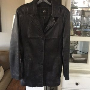 AM by Andrew Marc fitted Leather Blazer Coat S